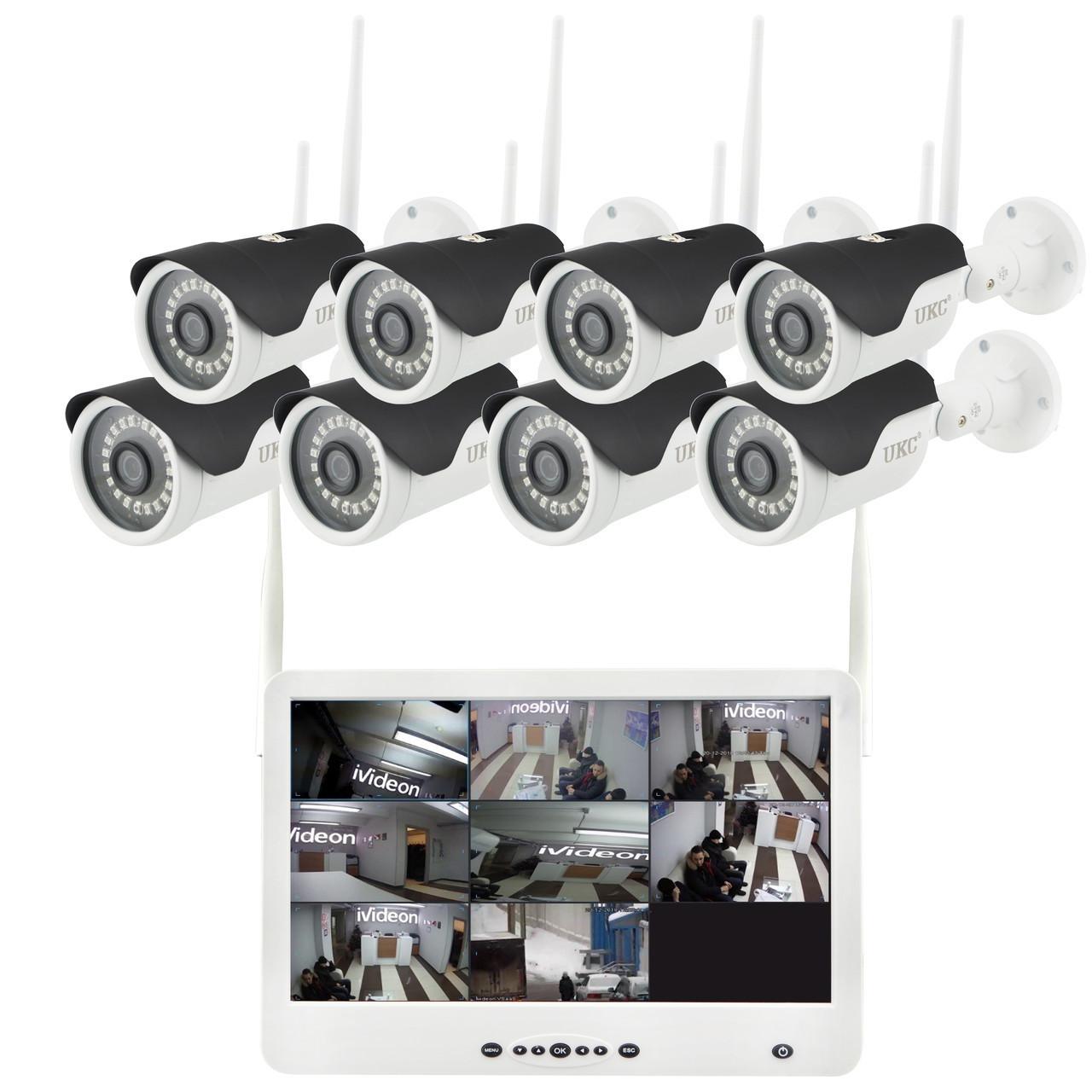 "Комплект видеонаблюдения беспроводной DVR KIT Full HD UKC CAD-1308 LCD 13.3"" WiFi 8ch набор на 8 камеры"