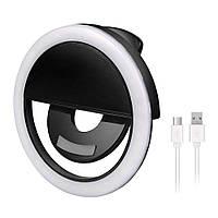 Аккумуляторная вспышка-подсветка для телефона селфи-кольцо XJ-01 Selfie Ring Light Черный