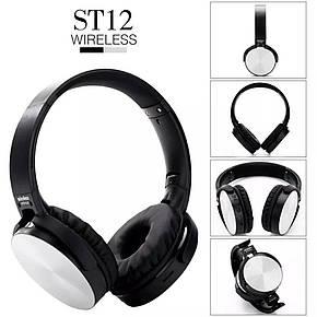 Бездротові навушники bluetooth UKC ST12 microSD Silver, фото 2