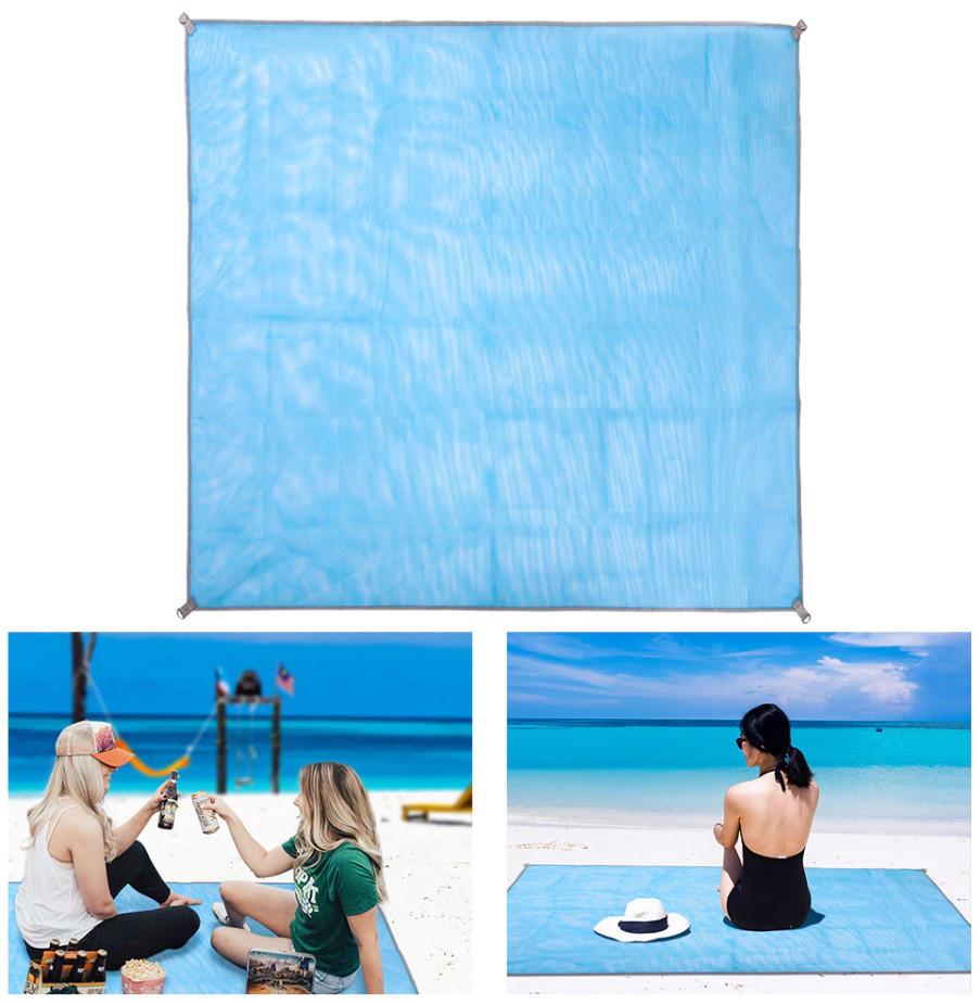 Пляжний килимок підстилка антипесок Sand-free Mat Блакитний