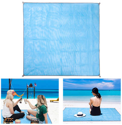 Пляжный коврик подстилка антипесок Sand-free Mat Голубой, фото 2