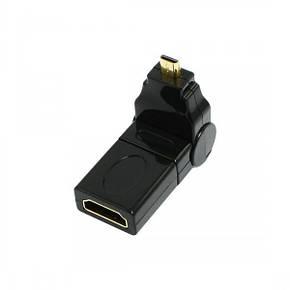 HDMI F to micro HDMI M з'єднувач перехідник адаптер кутовий поворотний (на 360 градусів), фото 2