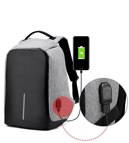 """Рюкзак Bobby c защитой от карманников и с USB зарядным устройством 15"""" серый (реплика), фото 2"""