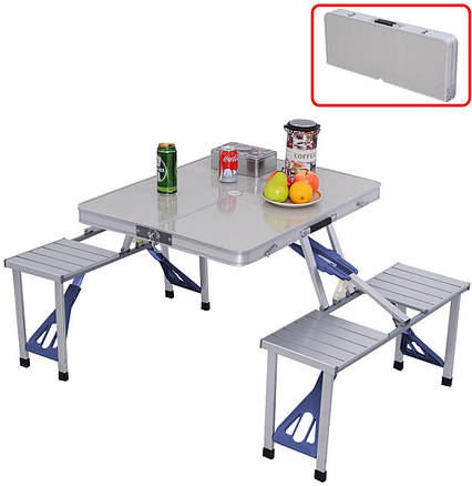 Алюминиевый стол для пикника раскладной со 4 стульями Folding Table 85х67х67 см (Серебряный), фото 2