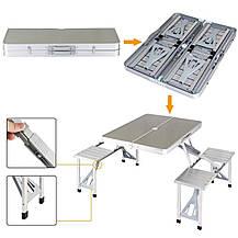 Алюминиевый стол для пикника раскладной со 4 стульями Folding Table 85х67х67 см (Серебряный), фото 3