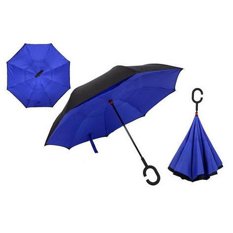 Ветрозащитный зонт обратного сложения Up-Brella Синий, фото 2