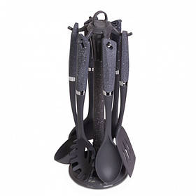 Кухонный набор Kamille 7 предметов нейлоновые ручки черный мрамур КМ-5030B
