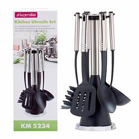 Набор кухонных принадлежностей Kamille с подставкой 7 предметов нейлоновые с ручкой из нержавеющей стали