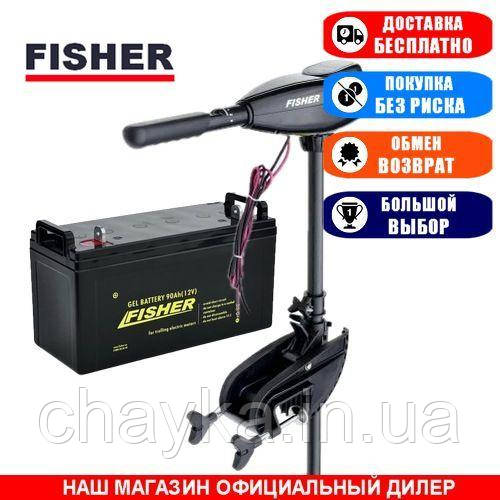 Электромотор для лодки Fisher 36 +AGM АКБ 90a/h. Комплект; (Лодочный электромотор Фишер 36);