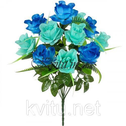 Искусственные цветы букет розы 2-х цветной, 57 см