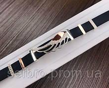 Каучуковый серебряный браслет с золотом и цирконом Крыло