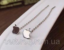 Срібний сережки протяжки Apple