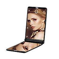 Складное зеркало для макияжа с подсветкой LED Travel Mirror. Черный, Складное дзеркало для макіяжу з підсвічуванням LED Travel Mirror. Чорний