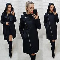 Пальто зимнее с капюшоном кашемир арт. 136/1 (цвет 12) черное / черного цвета