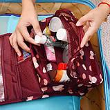 Дорожный органайзер Monopoly toiletry pouch. Бордовый в цветочки. УЦЕНКА, Органайзеры для дома и путешествий, фото 5