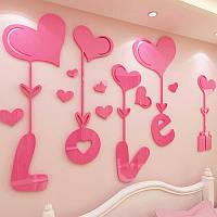 Акриловая 3D наклейка With Love, Акрилова 3D наклейка With Love