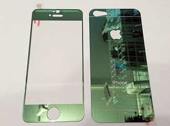 Защитное стекло переднее и заднее салатовое для iPhone 5 / 5s / SE