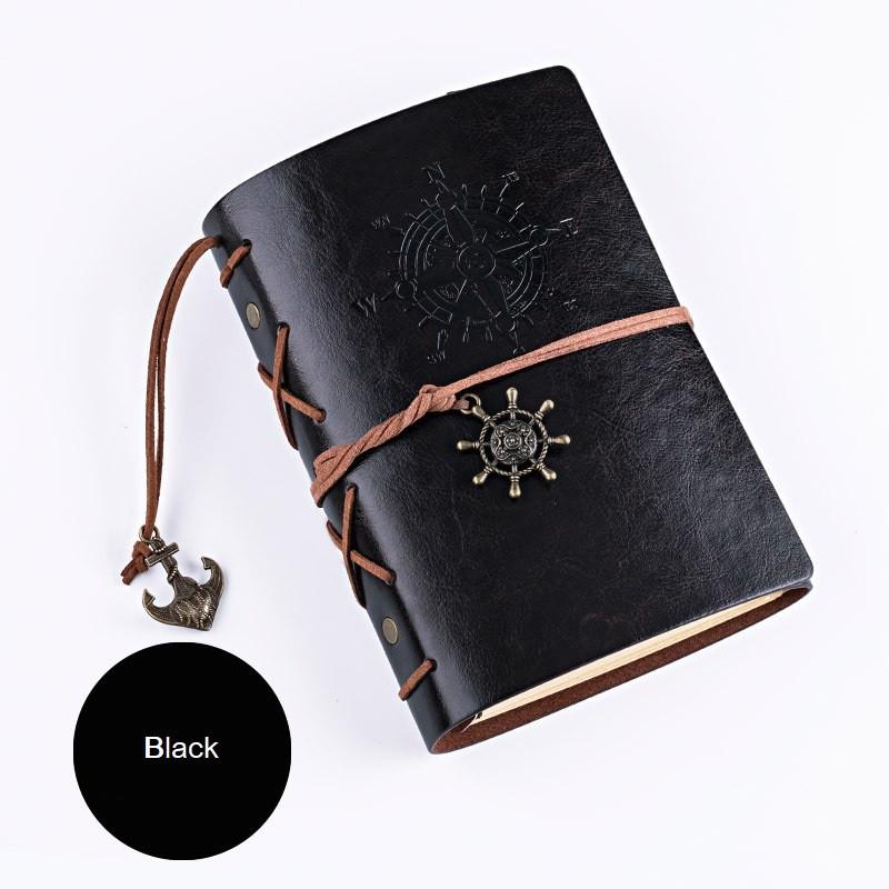 Винтажный блокнот с якорем и штурвалом. Черный, Вінтажний блокнот з якорем і штурвалом. Чорний
