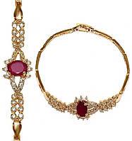 Браслет женский ХР с позолотой, с камнями бордовый и белый циркон - 205400