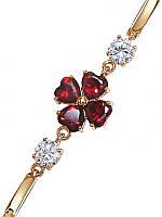 Браслет женский ХР с позолотой, с камнями бордовый и белый циркон - 205444