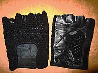 Кожаные перчатки без пальцев с сеткой
