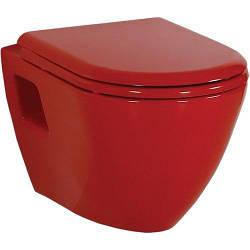 Красный подвесной унитаз Creavit Terra + сиденье soft-close (TP325.70100+KC3131.K0)