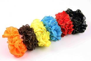 Разноцветная резинка для волос с золотистым кантиком, диаметр: 11 см,  12 штук в упаковке