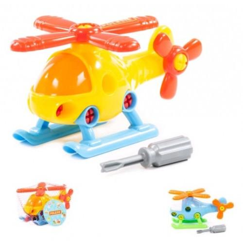Конструктор-транспорт Вертолет (16 элементов) (в сеточке) 170х105х97