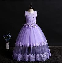 Платье сиреневое бальное выпускное длинное в пол нарядное для девочки в садик или школу.