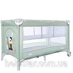 Детский игровой манеж-кровать с колыбелью мятного цвета на колесах CARRELLO Piccolo CRL-9201/2 от рождения