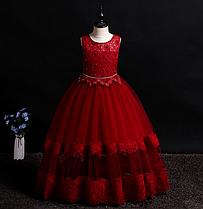 Платье бордовое бальное выпускное длинное в пол нарядное для девочки в садик или школу.