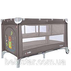 Детский игровой манеж-кровать с колыбелью шоколадный на колесах CARRELLO Piccolo CRL-9201/2 от рождения