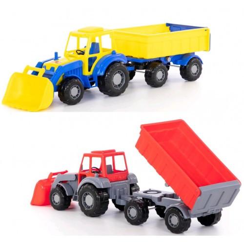 Трактор Алтай с прицепом №1 и ковшом (в сеточке) 66х17х18см ТМ POLESIE