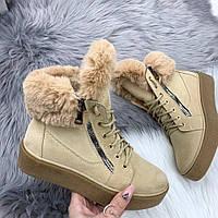Ботинки бежевые зимние, фото 1
