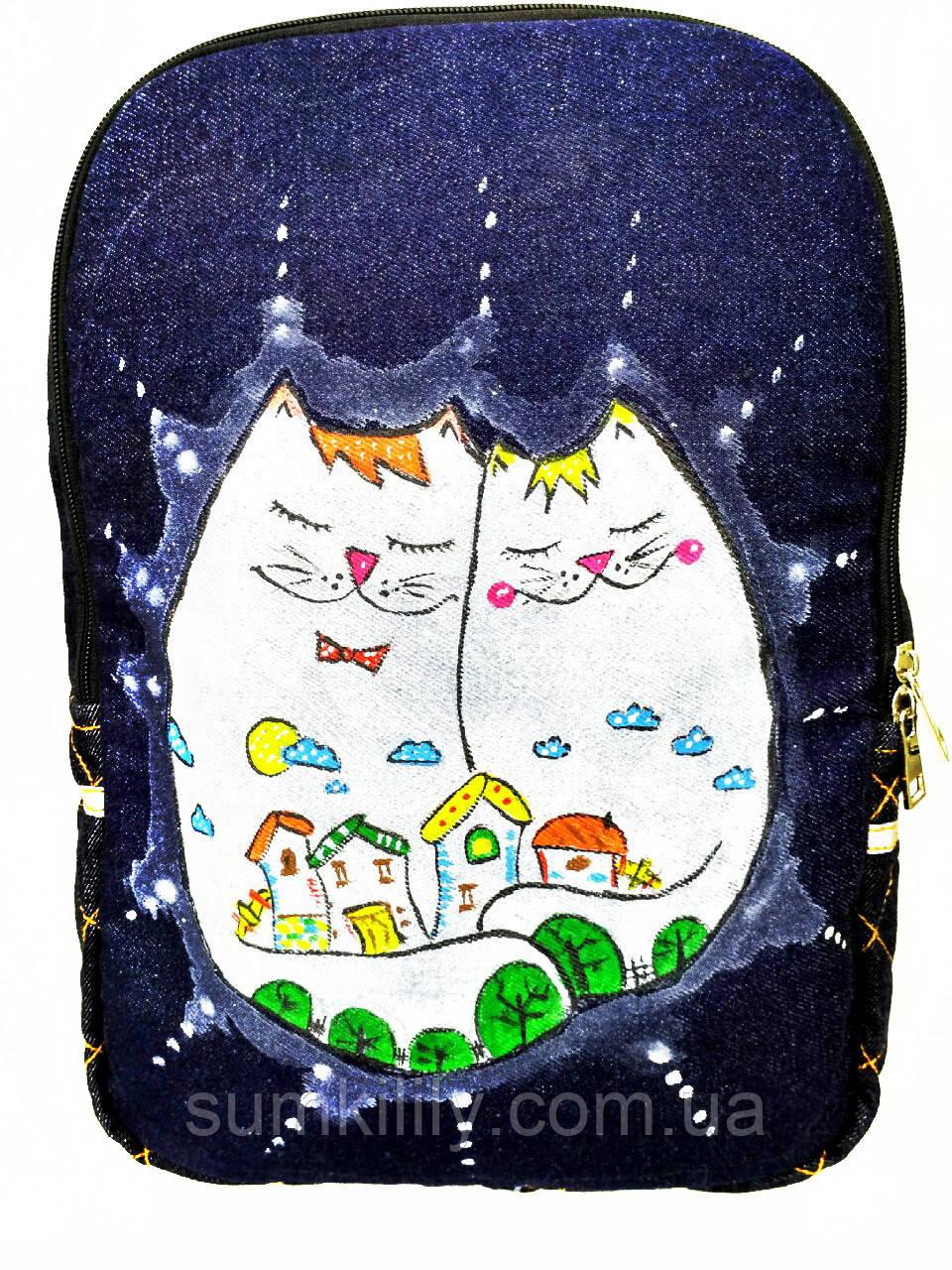 Джинсовый рюкзак Котосемья