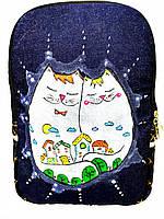 Джинсовый рюкзак Котосемья, фото 1