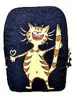 Джинсовый рюкзак Кот счастливчик, фото 1