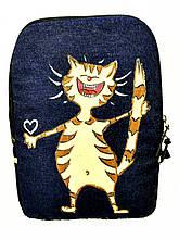 Джинсовый рюкзак Кот счастливчик