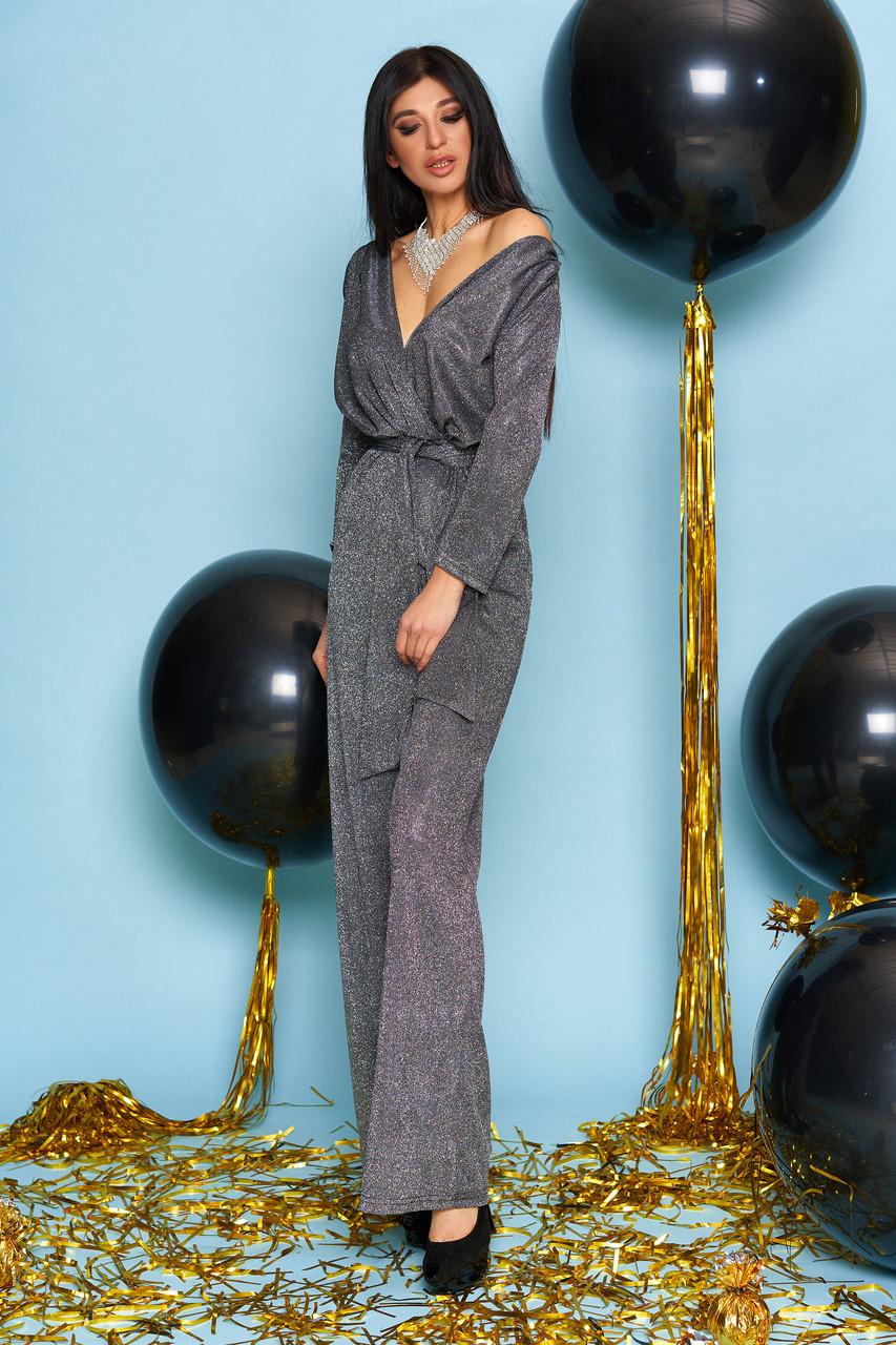 Комбинезон чёрный женский нарядный с люрексом, размеры от 42 до 50, брючный