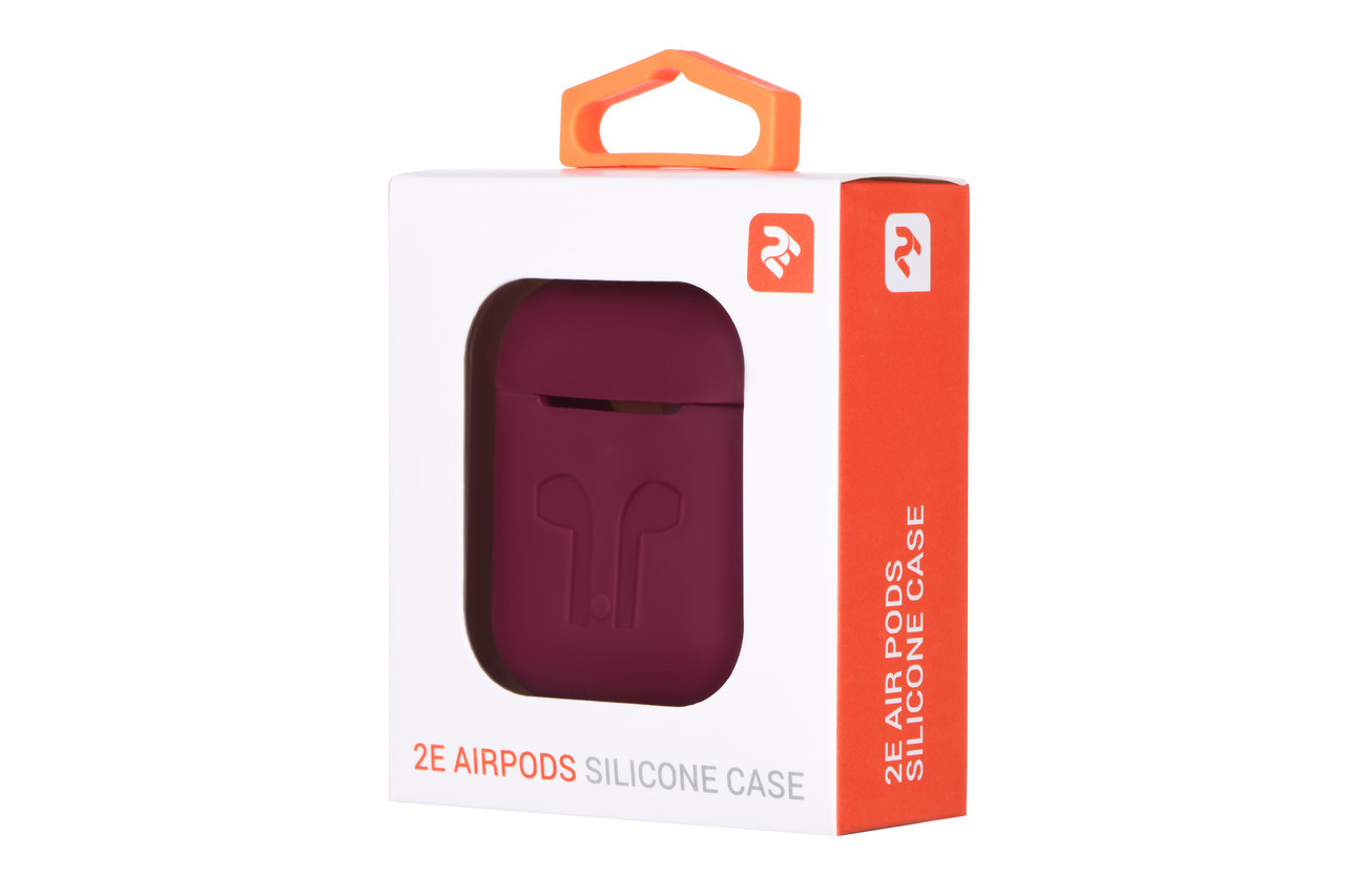 Чехлы для Apple AirPods Pure Color Silicone Imprint 3.0mm Marsala
