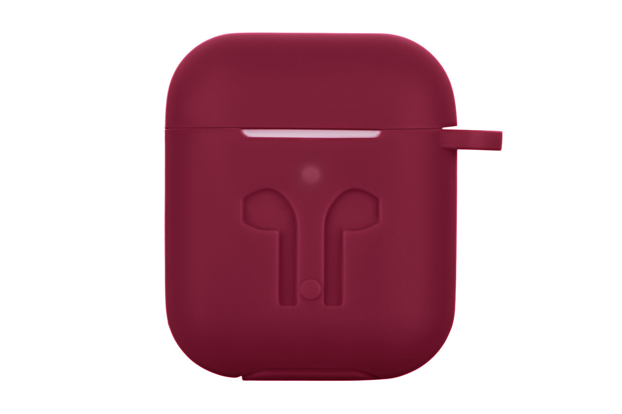 Чехлы для Apple AirPods Pure Color Silicone Imprint 3.0mm Marsala Силикон