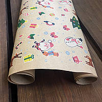 "Подарочная бумага с принтом  ""Санта"", 0.7 х 1 метр. 70 грамм/м². LOVE & home, фото 1"