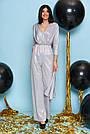 Комбинезон женский нарядный с люрексом серый, размеры от 42 до 50, брючный, фото 4
