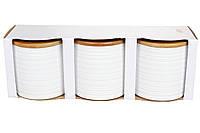 Набор (3шт) керамических банок 550мл с бамбуковыми крышками с объемным рисунком Линии, цвет - белый BonaDi 304-904