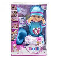 Функциональный пупс с аксессуарами doll yl1710n в голубом костюмчике с мышкой ( baby born)