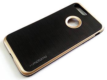 Чехол противоударный Motomo для iPhone 7 Plus черный с золотым