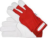Перчатки рабочие хлопок + кожа бело-красные 10Р YATO