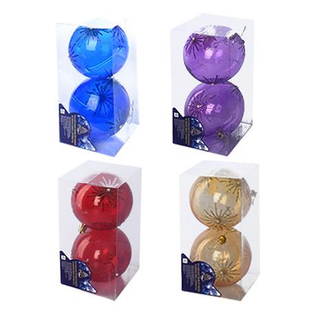 Елочные шарики 10см 2 шт. в набореоре, 8823
