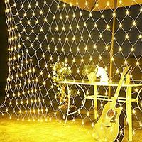 Гирлянда Сетка LED 100 лампочек Теплый белый, 120х120 см, прозрачный провод, переходник (1590-07)