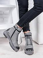 Кожаные женские ботинки серые на шнуровке